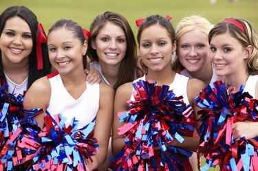 Portrait of a Group of Cheerleaders in a Line