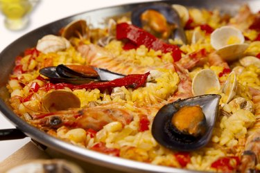 Spanish seafood rice paella, close up