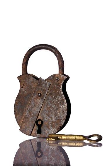 Studio shot of a lock and key