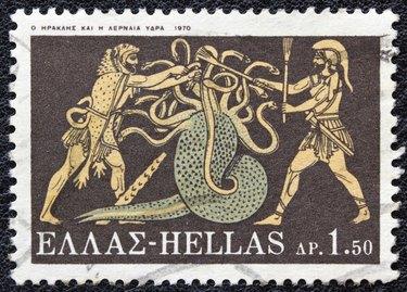 Greek stamp shows Hercules killing Lernaean Hydra (1970)