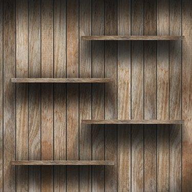 Empty wood shelf.