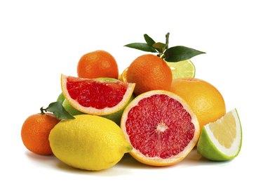 citrus fruits isolated on white background