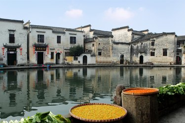 Day view of residential houses in Hongcun,Anhui province,China