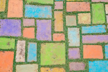 Colorful block ground of pathway