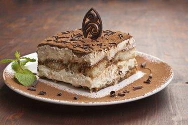 Portion of italian  tiramissu cake