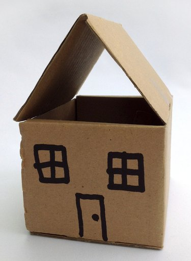 Image of dolls house made from cardboard - angled view