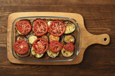 Roasted Eggplant with Tomato and Buckwheat Groats