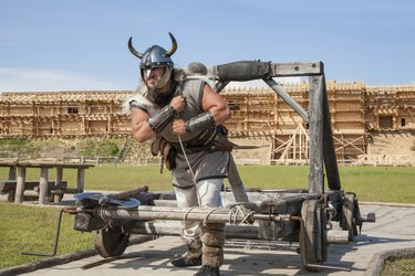 The Viking works hard on his territory