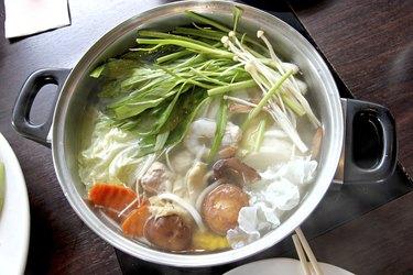 Hot Sukiyaki in pot.
