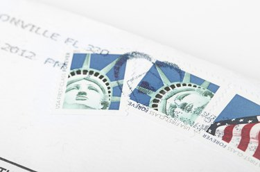 Postage stamp printed in USA shows the Statue of Liberty.