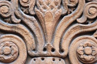 Close-up of carved sandstone