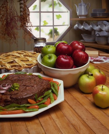 Roast beef and apple pie in a country kitchen