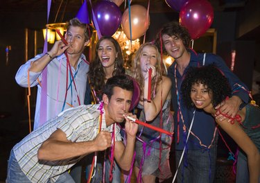 Friends celebrating at party