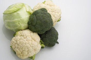 Broccoli, cauliflower and cabbage