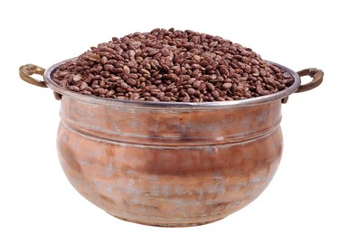 Pinto beans in a copper pot