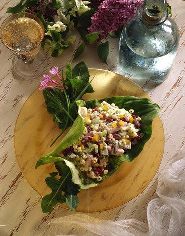 Pasta salad in lily leaf