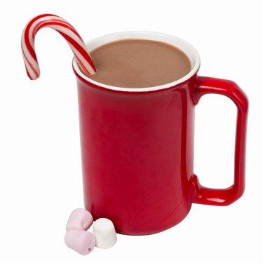 Close up view of a mug of hot chocolate and marshmallows