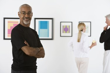 Man in art gallery