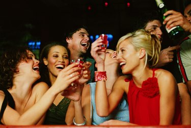 Group of young people toasting