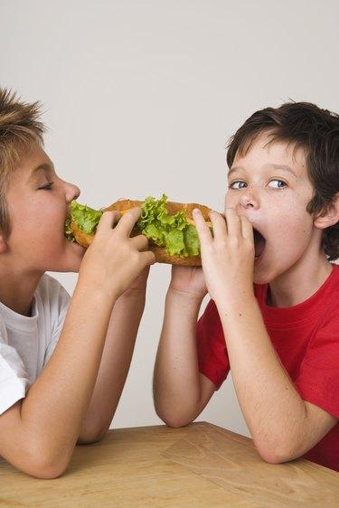 Boys sharing sandwich