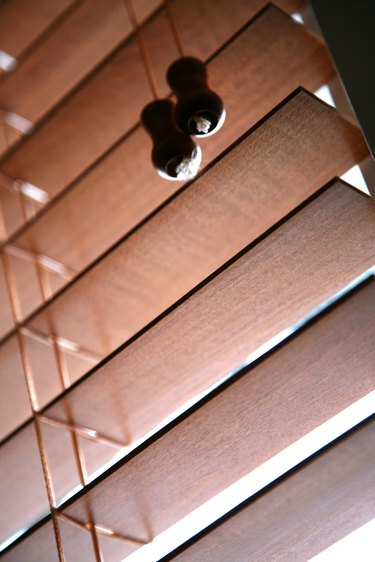 Wooden slats in venetian blind
