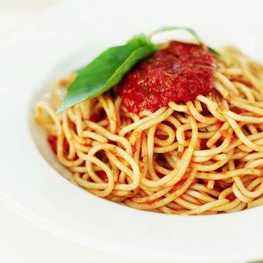 Close-up of a bowl of spaghetti