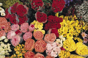 Bouquets of roses and other flowers
