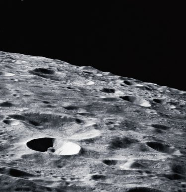 close-up of the surface of the moon