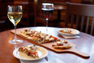 Traditional Italian pizza and wine
