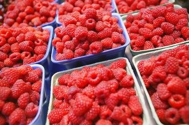 Raspberries in cartons