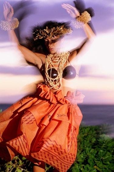 Hula dancer dancing, Hawaii