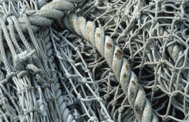 Close-up of tangled ropes and fishing nets