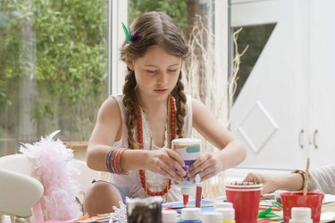 Girl doing crafts