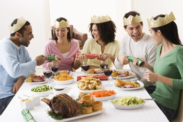 Friends at Christmas dinner