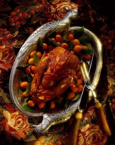 Pheasant with bacon and kumquats