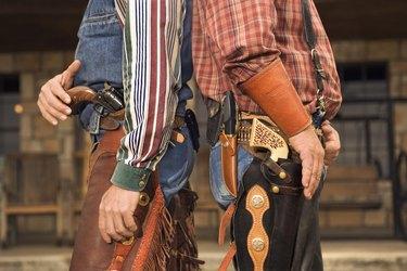 Cowboys preparing for gunfight