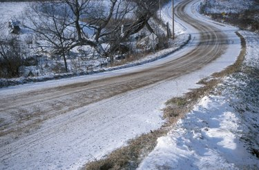 Winding road in the winter