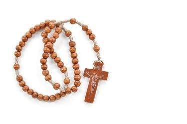 Wooden plain rosary on white background.