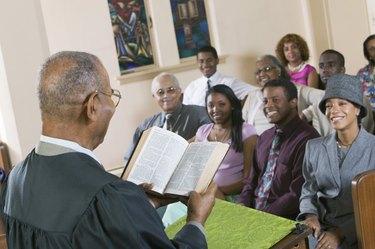 Minister Giving Sermon in Church
