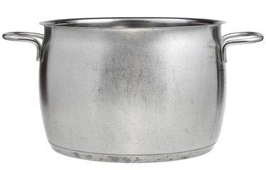 side view of big stainless steel saucepan