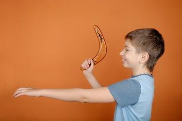 Boy with a boomerang