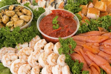 Seafood Appetizer Tray Close Up