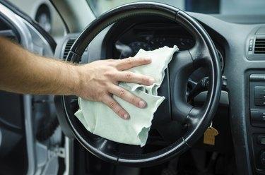 Polishing steering wheel