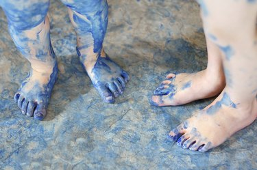 Children's Blue Painted Feet