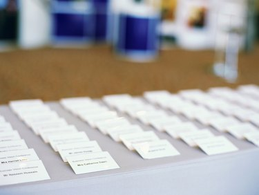 close-up of id cards in a row at an exhibition