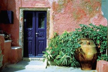 Potted plants outside a house, Santorini, Greece