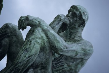 Statue of The Thinker, Rodin, Paris, France, low angle view