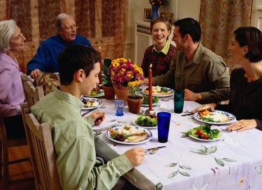 Family Eating a Thanksgiving Dinner