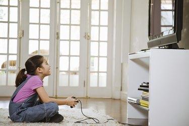 Girl playing video game