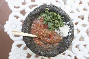 High angle view of a bowl of salsa
